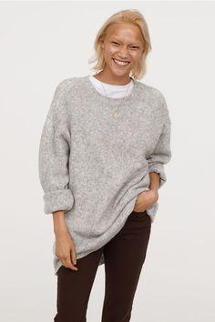 f4fa8f370baf Long Sweater - Light gray melange - Ladies