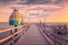 Dirk Wiemer - Diving bell at pier Zingst (Darss/Baltic Sea) Places Around The World, Oh The Places You'll Go, Travel Around The World, Around The Worlds, Reisen In Europa, Baltic Sea, Best Places To Travel, Ocean Beach, Romantic Travel