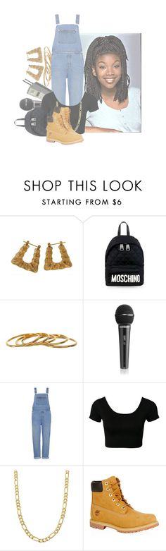 """""""Mo To The, e To The, Mo To The, e To The, Moesha"""" by trampoline-bootiee ❤ liked on Polyvore featuring Moschino, Gorjana, Whistles, Fremada and Timberland"""