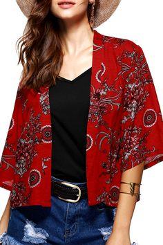 $12.27 Flower Ethnic Jacquard Print Collarless Short Kimono