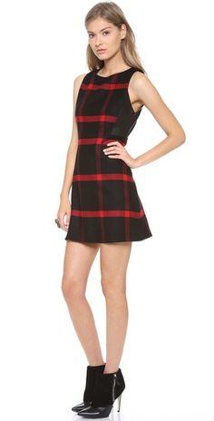 alice + olivia Jolie Leather Side Dress | SHOPBOP