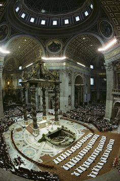 Peter's Basilica, candidates for the priesthood from 22 countries lie prostrate in humility before the high altar as they take their vows during an ordination Mass celebrated by Pope John Paul II, Rome, Italy - From the National Geographic book Visit Rome, Architecture Antique, Les Religions, Cathedral Church, Roman Catholic, Catholic Mass, Catholic Churches, Vatican City, Place Of Worship