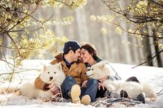 LOVE!!! Winter love shoot with puppies from jason-gina.com