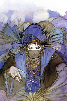 Yoshitaka Amano, Japanese illustrator (http://2.bp.blogspot.com/_5gznc9_9DxE/S5OqxJqMhHI/AAAAAAAAFVY/hLXI0f3LE7Q/s1600-h/022.jpg)
