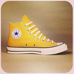 Converse in bright yellow Converse Boots, Yellow Converse, Design Your Own Converse, Shoe Boots, Shoes, Chuck Taylor Sneakers, High Top Sneakers, Kicks, Footwear
