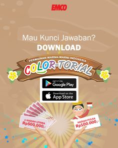 Kawan #EMCO yuk buruan download game #COLORtorial di playstore atau appstore… Ukurannya hanya 15MB…  Ikuti lombanya menangkan hadiahnya!  #EMCOpaint #EMCOfavorit #minikuis Photo And Video, Instagram