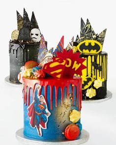 We can't wait to add to our amazing Celebration Cake Range, with some super themes coming your way. Watch this space! We can't wait to add to our amazing Celebration Cake Range, with some super themes coming your way. Watch this space! Fancy Cakes, Cute Cakes, Bolo Nake Cake, Bolo Star Wars, Superman Cakes, Marvel Cake, Superhero Cake, Drip Cakes, Cake Creations