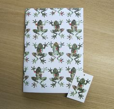 #Wrapping paper and tags printed on silk art using veggie inks.  Cool Christmas frogs!  http://www.alocalprinter.co.uk/products/