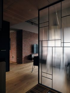 simple clean back metal framing, warm materials/colour. Glass Partition Designs, Glass Partition Wall, Glass Design, Partition Ideas, Glass Room Divider, Home Interior Design, Interior Architecture, Home Living, Office Interiors
