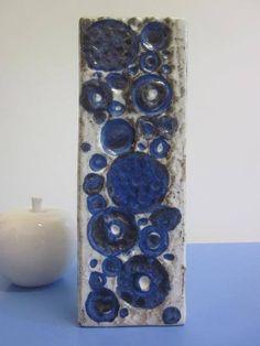 Ceramano Urania seltene 70er Vase Keramikvase in blau WGP fat