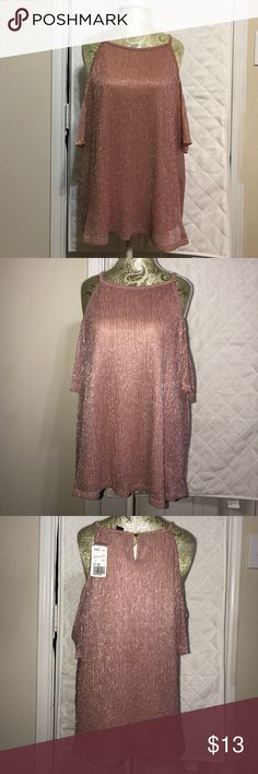 Cold / open shoulder blush colored top New with tags! Forever 21 . Cute sparkly shirt for a night out! *zara for exposure* Zara Tops Blouses