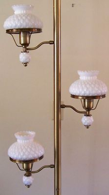 Colonial Milk Glass Pole Lamp My grandma had one of these in her living room