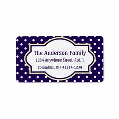 Blue Yellow & White Polka Dot Return Address Label