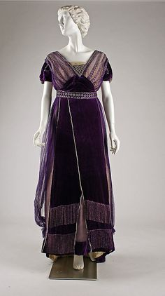 Beaded and embroidered purple silk velvet and chiffon evening gown by House of Worth (front), French, ca. 1910.