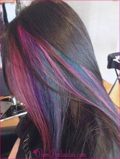 Rainbow Hair Color Ideas You'll Really - Beautiful Rainbow Hair Color Ideas You'll Really , Peekaboo Highlights for Brown Hair Okay so This is something I Hair Color And Cut, Cool Hair Color, Hair Colors, Hidden Hair Color, Peekaboo Hair, Peekaboo Color, Coiffure Hair, Brown Hair With Highlights, Rainbow Highlights