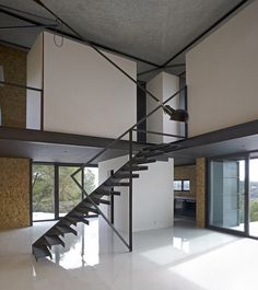 Stairs - Small Concrete Home Near Madrid Displaying an Irregular Shape