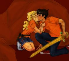 Percy Jackson and Annabeth Chase first kiss The Battle of the Labyrinth