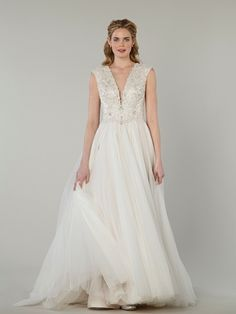 V-Neck A-Line Wedding Dress  with Natural Waist in Beaded Embroidery. Bridal Gown Style Number:33107202