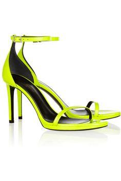 SAINT LAURENT Neon patent-leather sandals   Net-a-Porter SALE