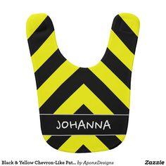 - & Yellow Chevron-Like Pattern Custom Name Baby Bib Yellow Chevron, Black N Yellow, Black Babies, Zebras, Baby Bibs, Baby Names, Pattern, Amp, Design