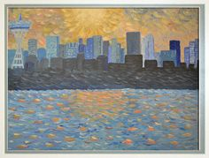 Impressionist wall mural of seattle skyline by Bel Fiore Artistry