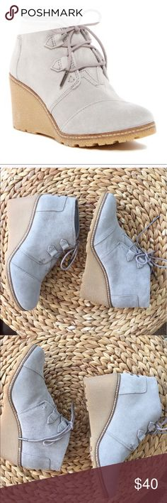 "Toms gray suede Desert wedge booties NWOT size 8.5 Toms bootie color gray true to size New condition. 3"" heel 3 1/2 shaft Toms Shoes Ankle Boots & Booties"