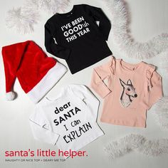 Christmas is Coming 🚸  Naughty or Nice Top Sizes: 2, 3, 4, 5, 6, 7 Presale: $16.99 (Retail $19.95) Colour(S): Black, White Brand: NAME IT  Round neck, long sleeves, soft material with stretch, graphic print on the chest  Deary Me Top Sizes: 2, 3, 4, 5, 6, 7 Presale: $24.99 (Retail $27.95) Colour: Pink Brand: NAME IT  Round neck, Long sleeves with flounce detailing, sewn on graphic, soft material with stretch.  Estimated Ship: Nov 28