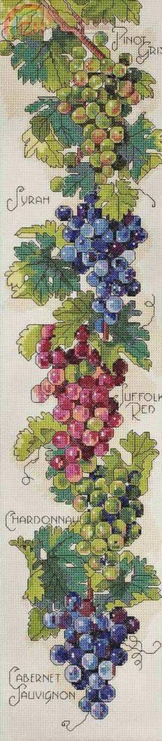Grapes & wine cross stitch