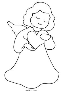 Angioletto con cuore Angel Coloring Pages, Coloring Books, Christmas Angels, Christmas Crafts, Christmas Coloring Pages, Christmas Templates, Diy Embroidery, Felt Ornaments, Disney Drawings