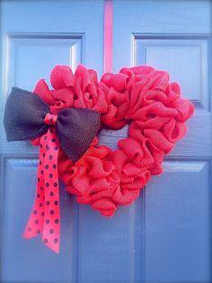 Red Heart Wreath  Red Valentine Wreath by WreathsByRebeccaB, $30.00