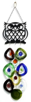 Metal Topped Wind Chimes by Bottle Benders. American Made. See the designer's work at the 2016 American Made Show, Greenville SC May 17-19, 2016. americanmadeshow.com #americanmadeshow, #americanmade, #recycled, #recycledglass, #windchime, #owl, #bird