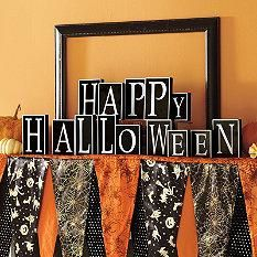 grandin road happy halloween blocks and bewitching halloween mantel scarf