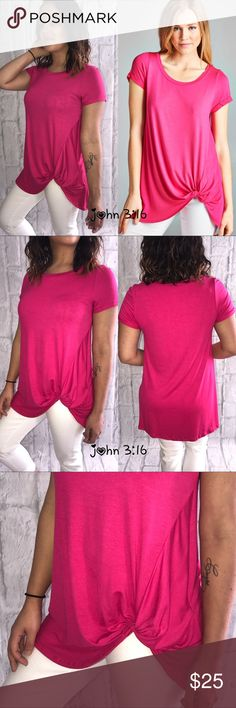 Tops with a twist Top with a twist in this fun hot pink color features short sleeves with cuffs - 95%rayon 5%spandex- fits true to size. Price is firm ✔️ Boutique Tops