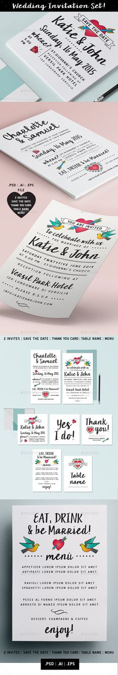 Wedding invitation Set vol. 6 — Photoshop PSD #wedding pack #wedding invites • Available here → https://graphicriver.net/item/wedding-invitation-set-vol-6/11356353?ref=pxcr