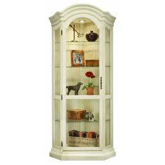 Philip Reinisch Co. Color Time Sandshell White Panorama Corner Display Cabinet