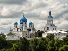 St. Bogolyubovo Monastery (founded in 1155) - Bogolyubo Cathedral (1855-1866, Konstantin Thon) and Gate Assumption Church with bell tower (1841)