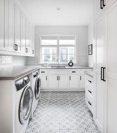 bright white and gray laundry room boasts a white front loading washer and . This bright white and gray laundry room boasts a white front loading washer and . , This bright white and gray laundry room boasts a white front loading washer and . White Laundry Rooms, Pantry Laundry Room, Mudroom Laundry Room, Modern Laundry Rooms, Laundry Room Layouts, Laundry Room Remodel, Laundry Room Organization, White Rooms, Laundry Room Floors
