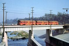 Red Cars Crossing the Los Angeles River 1954