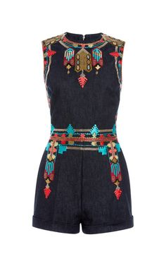 Denim Embroidered Sleeveless Romper by Valentino for Preorder on Moda Operandi