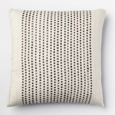 Embroidered Dot Silk Pillow Cover - Sable | west elm