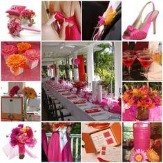 orange wedding reception pictures | orange and fuchsia then orange fuchsia pic from weddingbee com