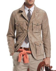 Brunello Cucinelli Suede Safari Jacket With Roll-tab Sleeves In Beige Suit Vest, Blazer Jacket, Blazer Fashion, Mens Fashion, Bomber Coat, Safari Jacket, What To Wear Today, Winter Mode, Field Jacket