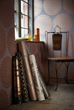 Too many copper copper coloured wallpapers to choose from! Wallpapers from the Leonida collection by Harlequin