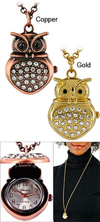 Owl Locket Watch Necklace ~ remember having something like this as a child and feeling so special ~ purchase benefits animal rescue via The Animal Rescue Site.