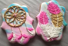 Dream catcher and feathers watercolor bohemian cookies.