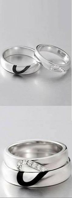 Pure Silver Love of Heart Couple Rings ♥✤ | KeepSmiling | BeStayClassy
