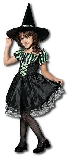 Schwarzes, freches Kinder Hexenkostüm für junge Mädchen die auf die Zauberschule gehen wolllen.