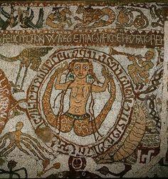 Tritoness, from Mosaic Floor, Ortranto Cathedral, 1163 (via Museo Immaginario Arti senza Tempo on FB)