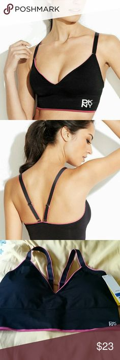 "!!!!!!!! LAST CHANCE. SALE!!!!!NEW DKNY SPORT BRA Featured in black V-neck Adjustable racerback shoulder straps Full coverage cups Ribbed band with ""DKNY"" text on left side Pink outer trim details Hand wash Nylon / spandex Imported DNKY Intimates & Sleepwear Bras"
