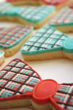 24 Cookies/Plaid and Polka Dot Bowties  decorated sugar cookies by iBakery, $96.00